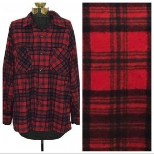 Pendleton Vintage Red Plaid Wool Button Down P121